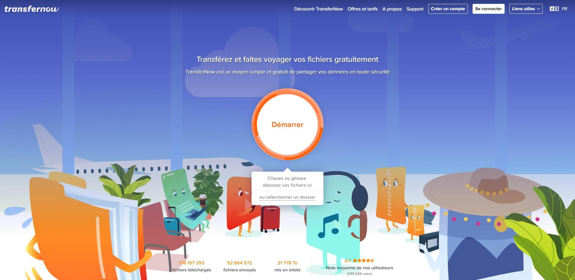 Interface utilisateur de TransferNow